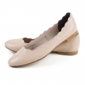Nude leather frilled ballet flats