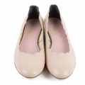 Nude leather frilled ballet flats chloe