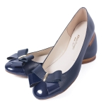 Navy blue leather ballerina flats with bow
