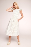 White fit & flare midi dress Butterfly by Swing (1)