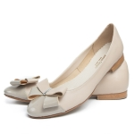 Nude genuine leather ballet flats with bowtie