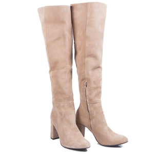 LONG OVER KNEE BOOTS  SUDE LEATHER NUDE