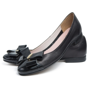 Black genuine leather  ballet flats with bow