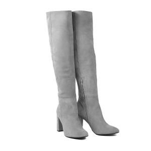 Long over knee boots grey sude leather