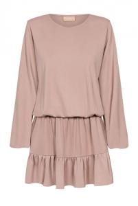 604fdfa817 Bluzowana beżowa sukienka Carlli Preska ...