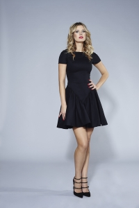 Black jeans short sleeve dress  FLOWER by Swing
