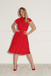 Red pleated dress Harmony by Swing
