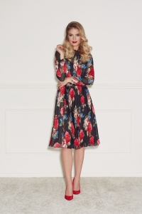 Floral print pleated dress Harmony by Swing