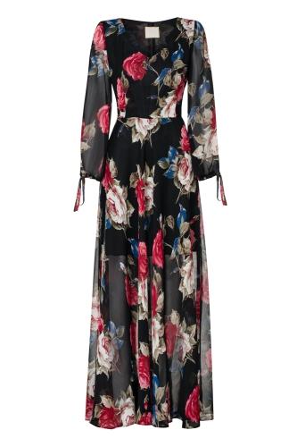 a235f11b Długa szyfonowa sukienka w róże Carmen by Swing