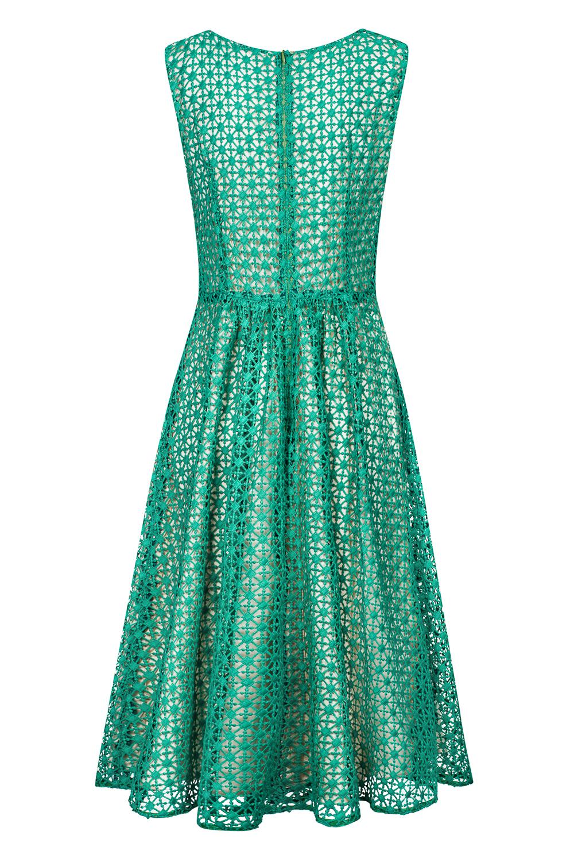 53e340a14b Zielona gipiurowa sukienka za kolano CINDY SWING SWING FASHION STORE