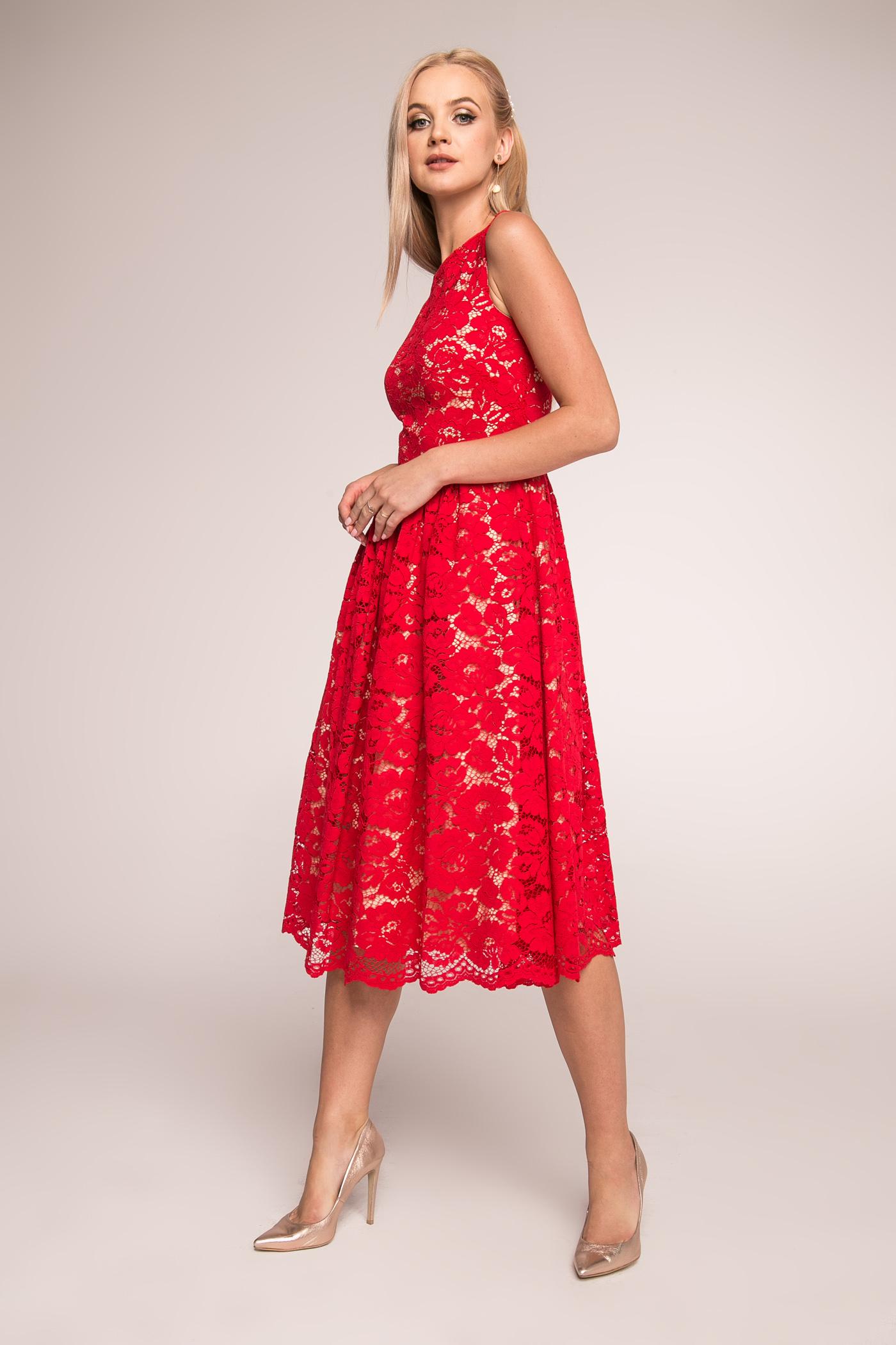 b451083d Czerwona koronkowa sukienka midi June by Swing