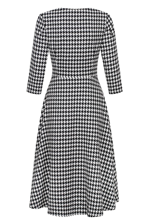 Przekładana lekko rozkloszowana sukienka midi w pepitkę OSLO by Swing
