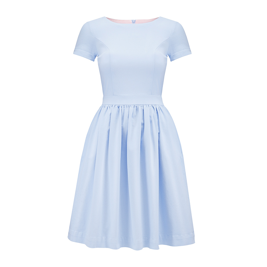 1dbe90daef81 Błękitna rozkloszowana sukienka Baby Blue mini by Swing SWING ...