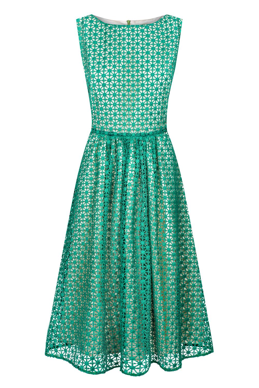 5bd81318a668d7 Zielona gipiurowa sukienka za kolano CINDY SWING SWING FASHION STORE