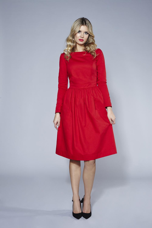 78f7c711450226 Czerwona sukienka BABY BLUE midi SWING FASHION STORE