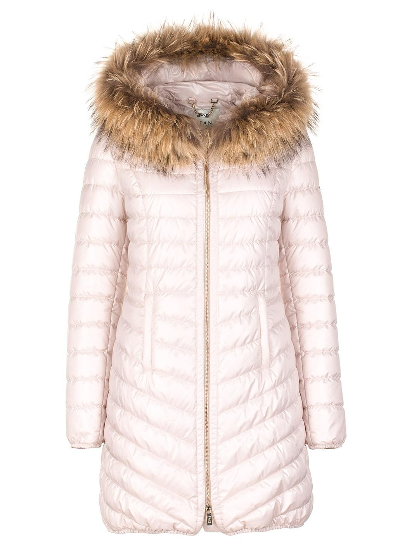 fc4190a9fd726 Beżowa pikowana kurtka z naturalnym futrem na kapturze SWING FASHION ...