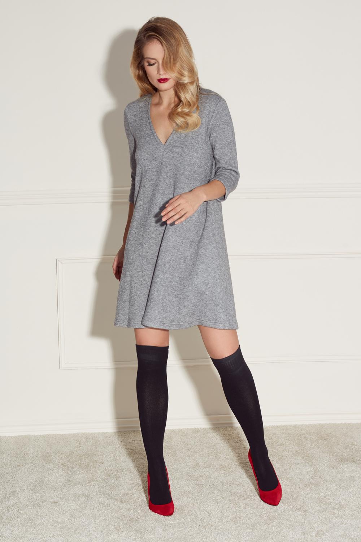 ef359d601a93 Szara dzianinowa sukienka z głębokim dekoltem Melani SWING SWING ...