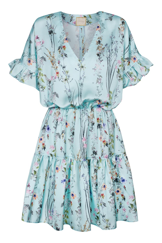 a97ac5a8 Błękitna sukienka w kwiatki z gumką w pasie Heidi by Swing