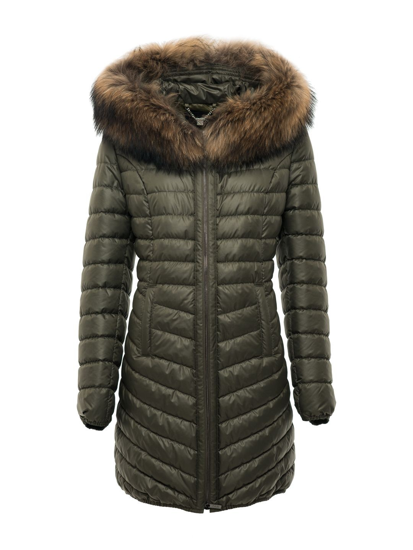 25331721701ff Zielona pikowana kurtka z naturalnym futrem na kapturze SWING ...