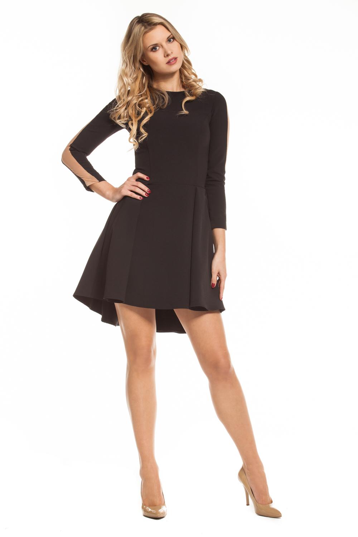 f76f951a2f2999 Czarna asymetryczna sukienka z przezroczystym paskiem Abia by SWING ...