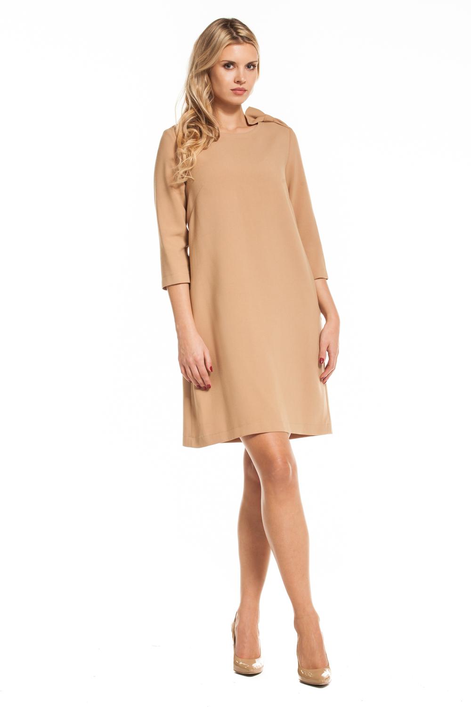 a3014dae390 Trapezowa Sukienka Jenny by Swing; Karmelowa sukienka Jenny