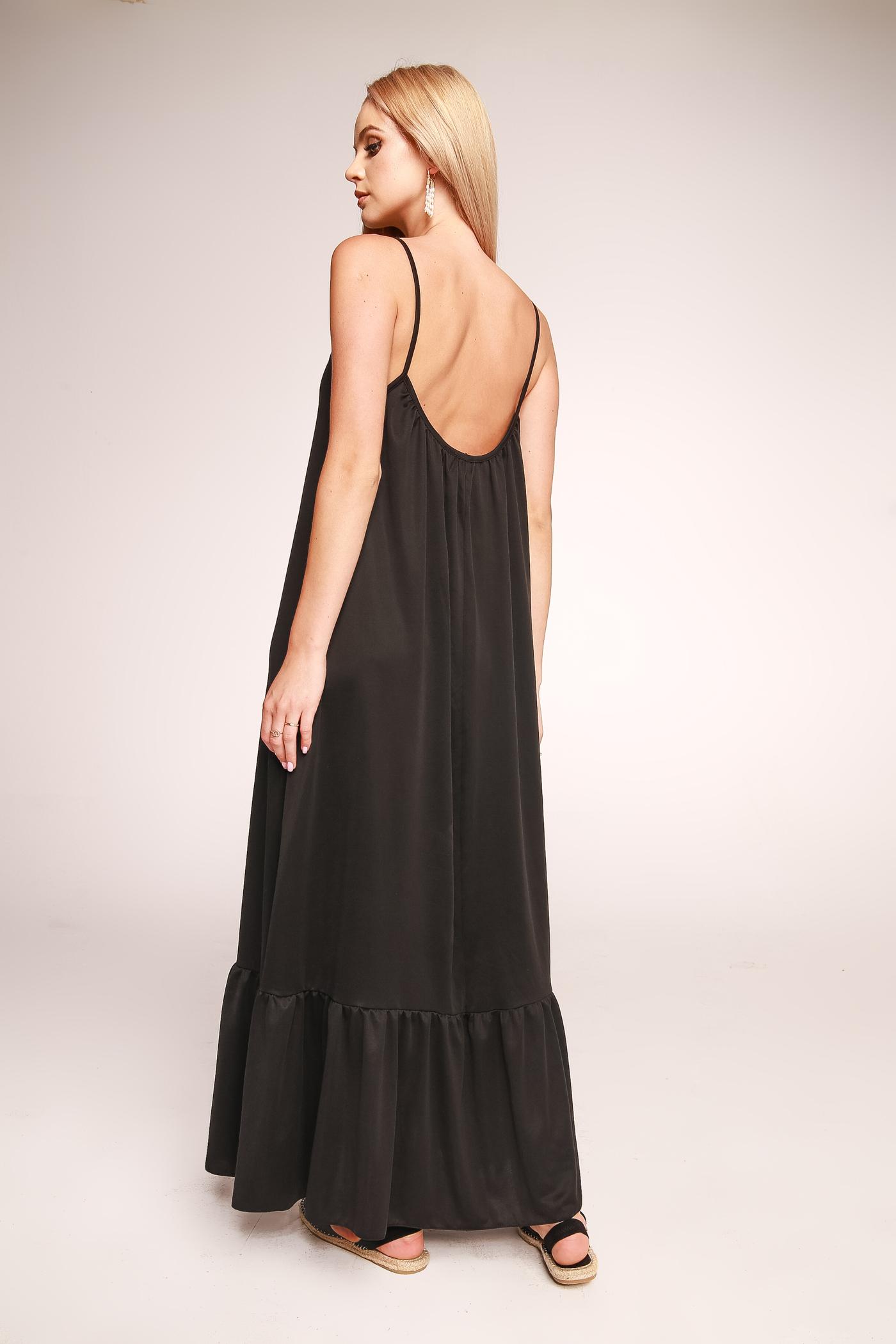 Długa czarna sukienka maxi na ramiączka z odkrytymi plecami PARADISE