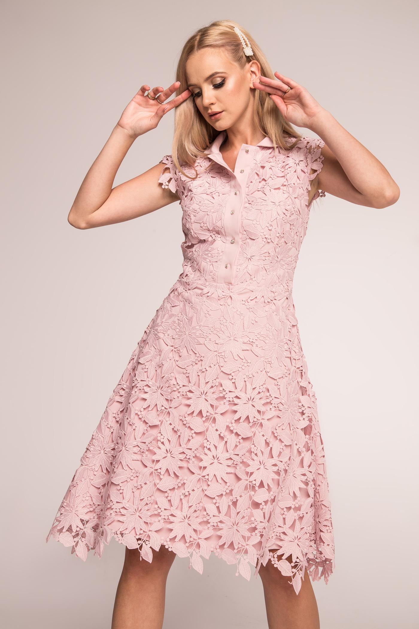 Koronkowa sukienka midi Jasmine pudrowy róż Swing