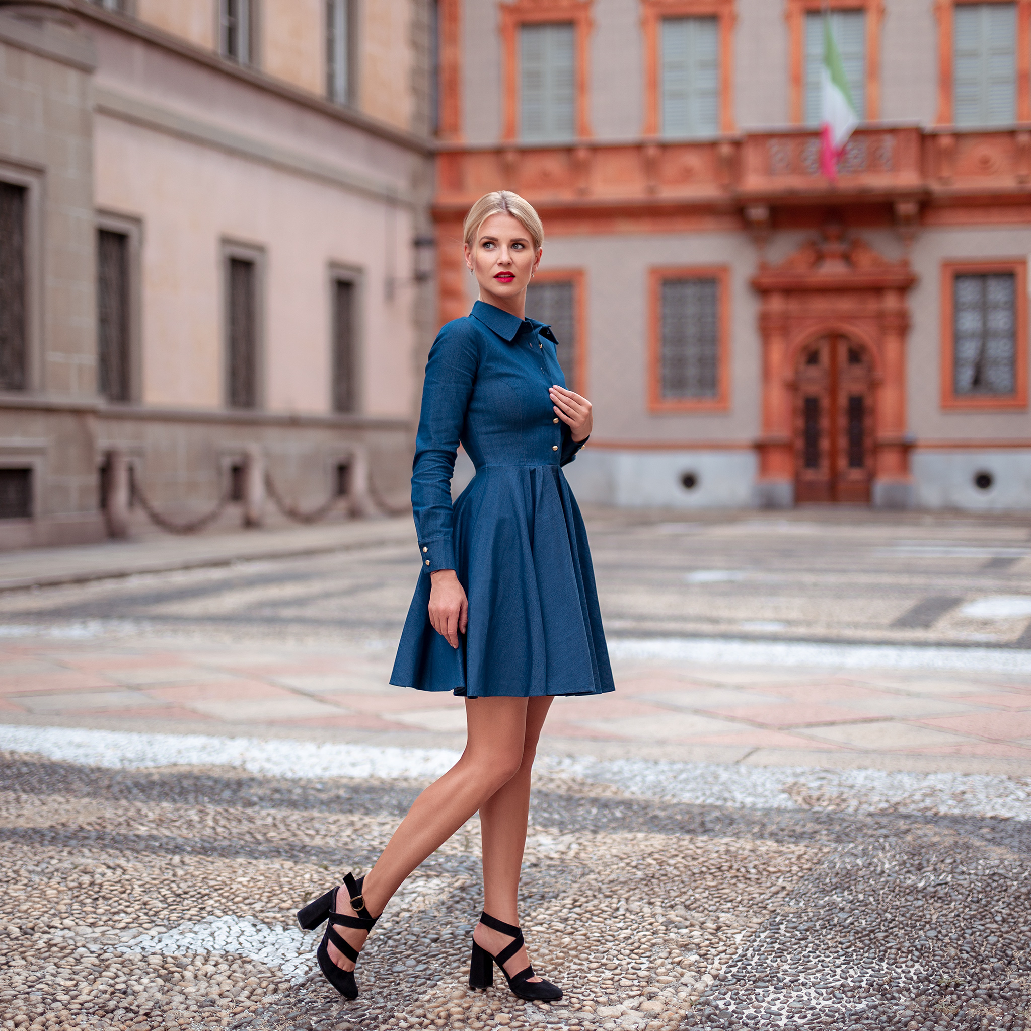 0a9ce76713 Navy blue fit   flare denim dress Natalie by Swing SWING FASHION STORE