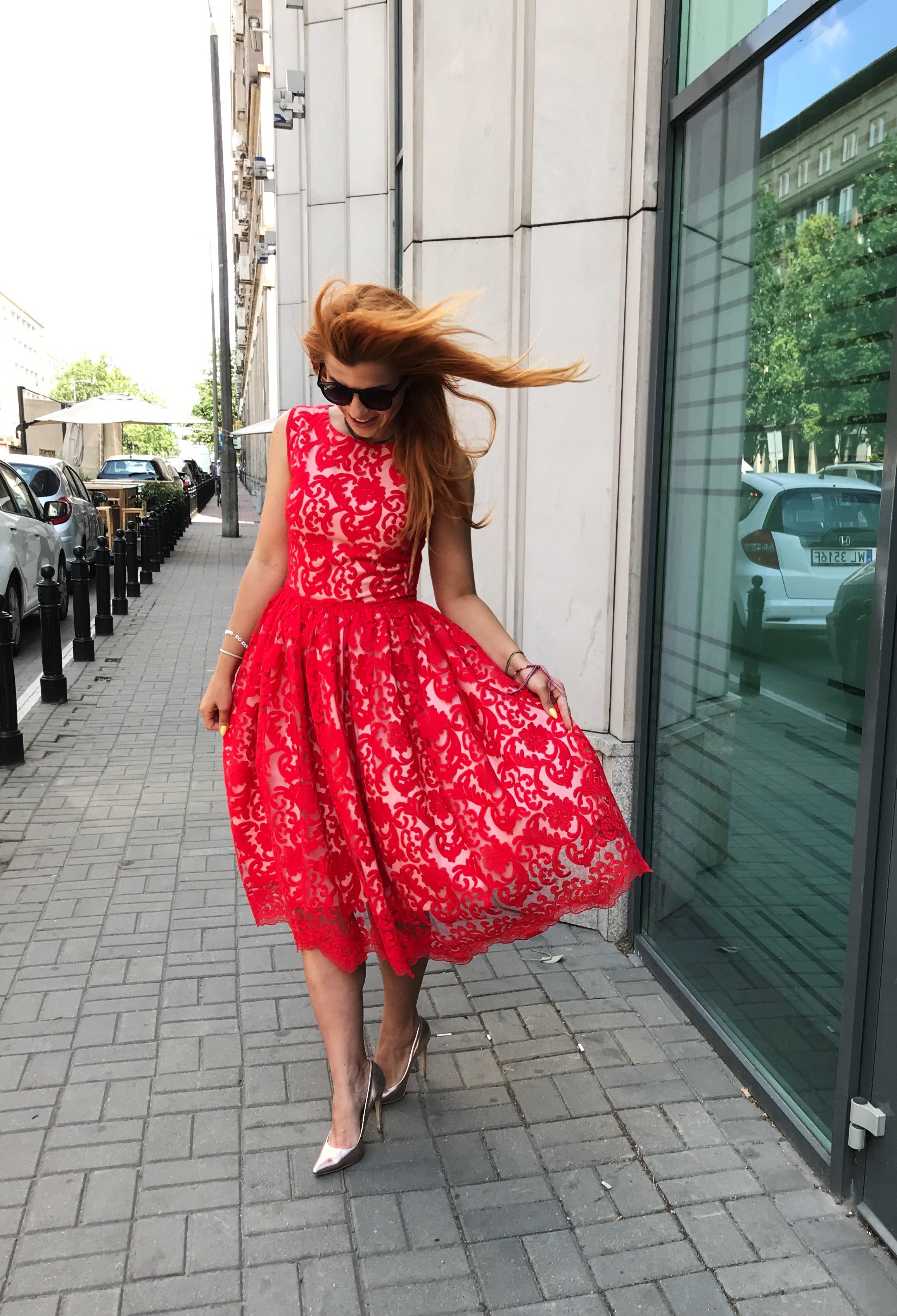 876ebf7e6f Red lace midi dress Cherry by Swing SWING FASHION STORE