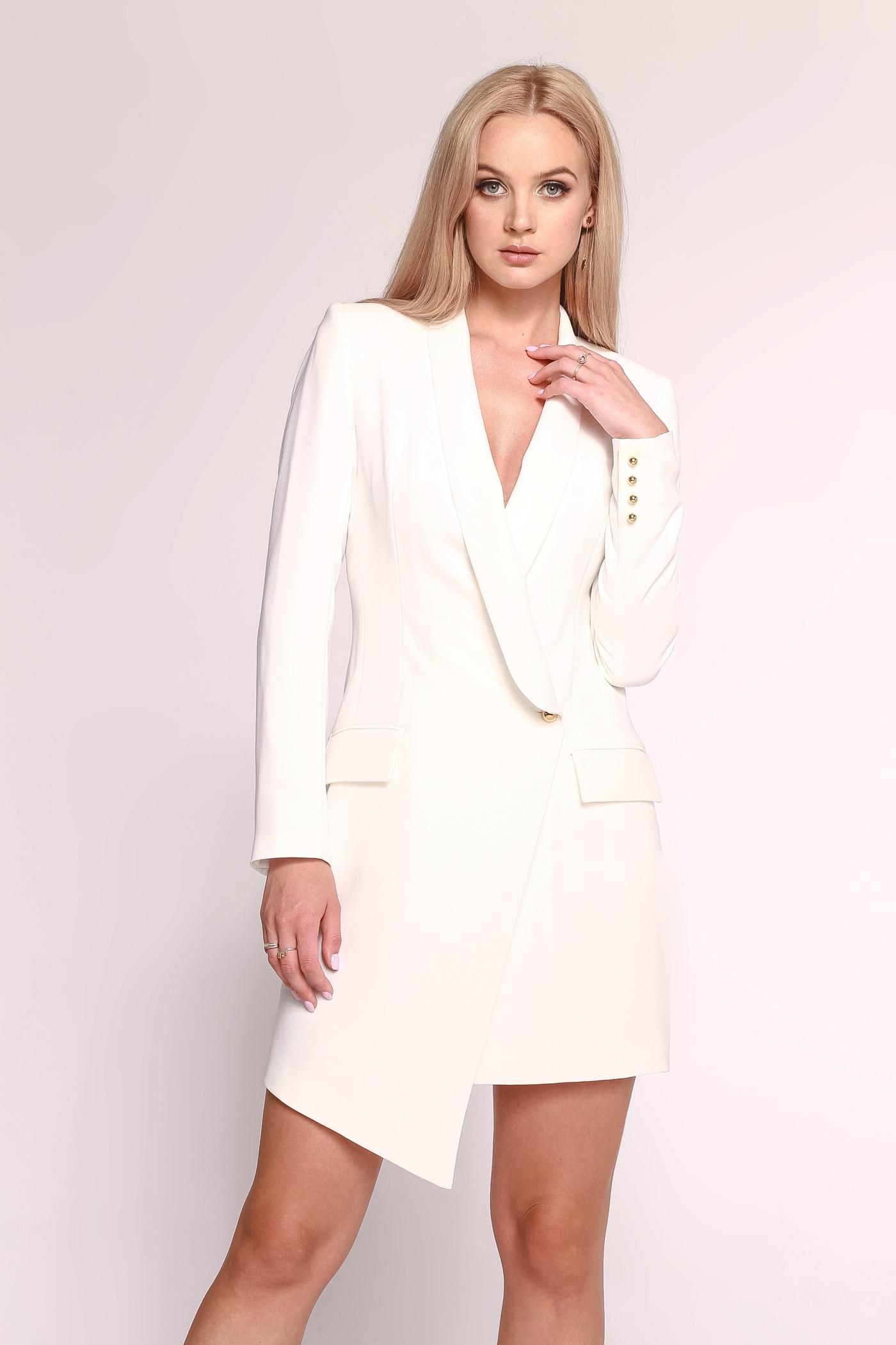 Biała sukienka o kroju marynarki Blanca by Swing SWING