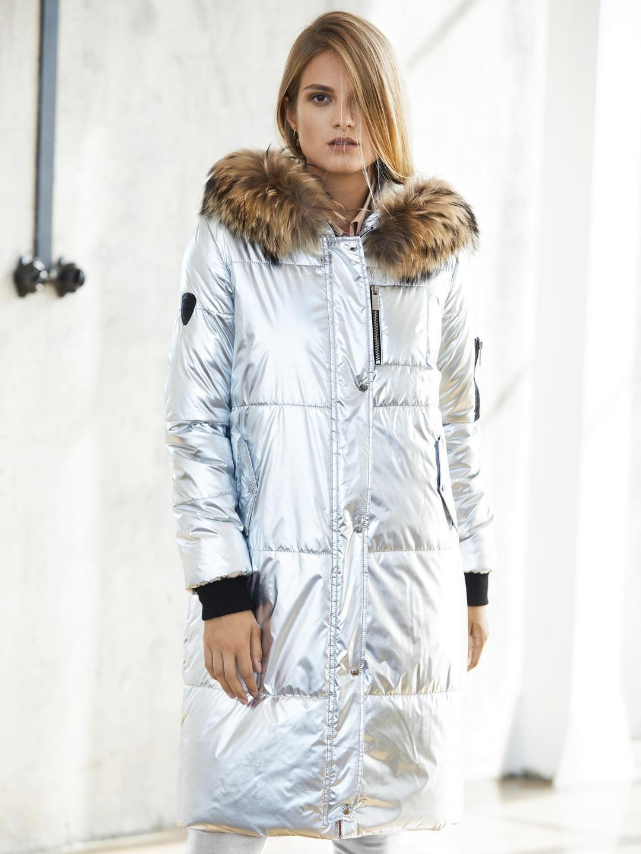 c4f70644a9 Srebrna zimowa kurtka z kapturem obszytym futrem jenota SWING ...